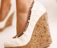 White Wedges with Gold Chain