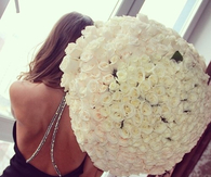 Large bouquet of white roses