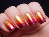 Sunset glitter nails