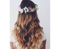 Floral crown with wavy hair