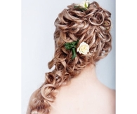 Curly wedding style hair