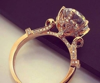 Gold band diamond ring