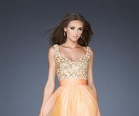 2013 Gold Silver Lattice Sequin Top Orange Prom Dresses