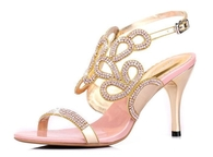Pink High Heeled Sandals with Cutouts