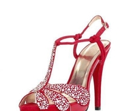 Red High Heeled Sandals