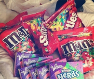 Skittles, nerds and m&ms