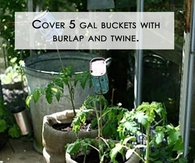 Burlap and twine bag garden