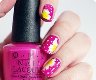 Pink OPI flower nails