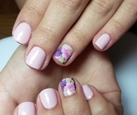 Light pink floral nails