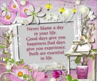 Never blame a day in your life...
