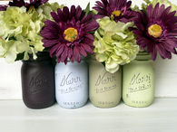 Painted Mason Jars for Vases