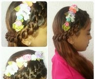 Four strand and flower headband