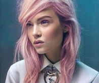 Pink messy hairstyle