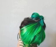 Green hair bun