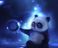 Panda and bubbles