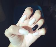 White and black square nails