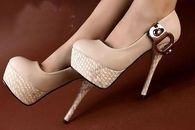 Tan Pumps with Gold Buckle