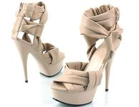 Tan Stilettos with Ankle Wrap