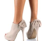 Tan Stiletto Booties with Side Zippers