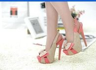 Tan & Salmon Stiletto Slingbacks with Bows