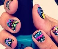 Girly colorful pattern nails