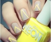 Neon yellow triangle nails
