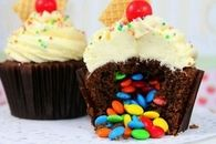 M&M Filled Cupcakes