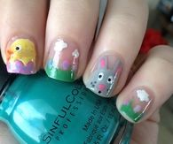 Bunny and chick nails