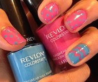 Revlon pink and blue easter nails