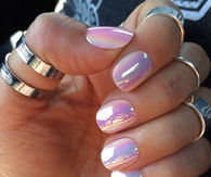 Shiny summer holographic nails