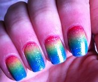 Rainbow gradient nails
