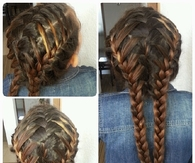 Waterfall braids into lace french braids