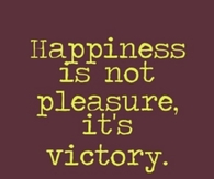 Happiness is not pleasure, its victory