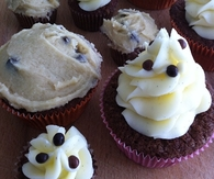 Chocolate cupcakes with vanilla and chocolate chips