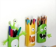 DIY Pencil holders from shampoo bottles