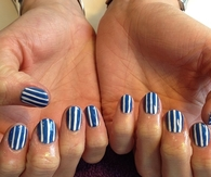 Blue and white striped nails
