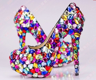 Bright Colorful Rhinestone Pumps