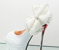 White Glossy Stiletto Pumps with Bow Bling