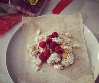 Ricotta, cinnamon, honey and raspberry wrap