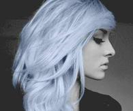 Steel blue curly hair