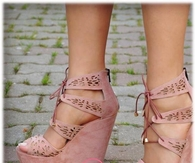 Dusty Rose Wedge Sandals