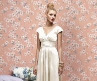 Sheath Column V Neck Floor Length Ivory Bridesmaid Dress