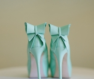 Mint Green High Heels with Bows