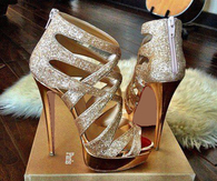 Unique Gold Stiletto Heel Peep Toe Sandals