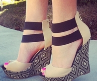 Fashion Strips Peep-Toe Wedge Heel Sandals