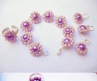 Beaded bracelet and earrings