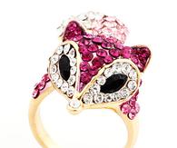 Crystal Fox Head Ring