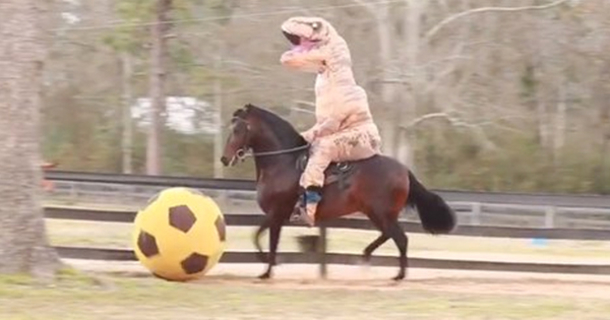 Everything About This Dinosaur Riding A Horse Is Weird