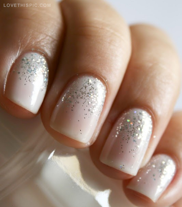 White And Silver Glitter Nails Pictures, Photos, And